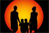Family walk at sunset — Stock Vector