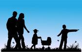 家庭及儿童步行 — 图库矢量图片