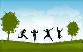 Gruppe von menschen springen — Stockvektor