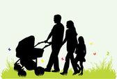父母和子女的家庭 — 图库矢量图片