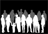 Crowd of people - vector silhouettes — Stock Vector