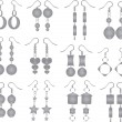 Stock Vector: Jewelry - earrings set