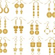 Stock Vector: Set of golden earrings