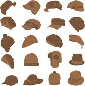 Collection of caps — Stock Vector