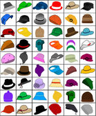 Collection of caps and hats — Stock Vector