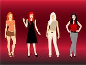Fashion Women - color — Stock Vector