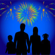 Family show of firework — Stock Vector