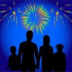 Family show of firework — Stock Vector