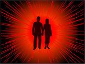 Danse de gens silhouettes - fond — Vecteur