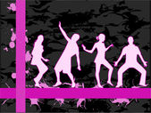 Dancing people silhouettes -background — 图库矢量图片