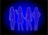 Fashion Women - blue light — Stock Vector