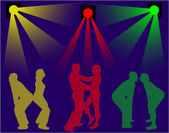 Dancing people silhouettes -background — Vetorial Stock