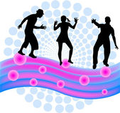 Dancing people silhouettes -background — Stock Vector