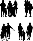 Family silhouette - Illustration — Stock Vector