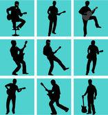 Guitar player silhouette set — Stock Vector