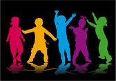 Группа детские силуэты — Cтоковый вектор