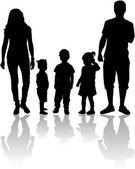 Aile silhouettes — Stok Vektör