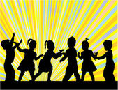 Group of children silhouettes — Stock Vector
