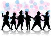 Barn siluetter — Stockvektor