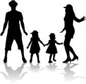 Familie silhouetten — Stockvector