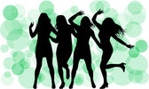 Dancing silhouettes women — Stockvector