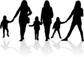 家族のシルエット — ストックベクタ