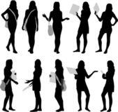 Silhouette girls  — Stockvektor