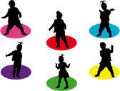 çocuk silhouettes — Stok Vektör