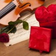 Royalty-Free Stock Photo: Beautiful roses and violin!