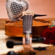 Beautiful roses and violin! — Stock Photo