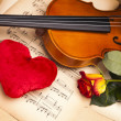 Beautiful roses and violin! - Stock Photo