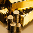 Stock Photo: Gold bars! Money and financial