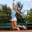 Exactly a game of tennis. Girl on court — Stock Photo #30264525