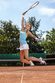 Exactly a game of tennis. Girl on court — Stock Photo