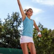 Stock Photo: Exactly game of tennis. Girl on court