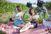 Two pretty girls ejnoy the sun in picnic — Stock Photo