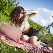 Women, picnic and computer! — Stock Photo