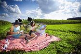 две красивые девушки ejnoy солнца в пикник — Стоковое фото