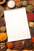 Great cookbook and spices — 图库照片
