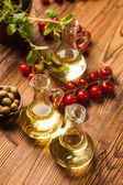 Composition of olive oils in bottles — Stock Photo