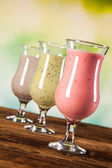 Healthy diet, protein shakes and fruits — Stock Photo