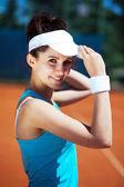 Female playing tennis — Foto de Stock