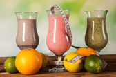 Healthy diet, protein shakes and fruits — Foto de Stock