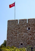 Wall of a fortress with a flag of Turkey — Stock Photo