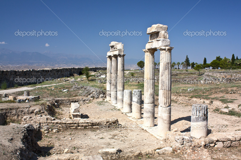 Ruins of school   at ancient Hierapolis, now Pamukkale, Turkey  Stock Photo #12165156