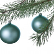 Christmas decoration ball and fir branch — Stock Photo