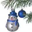 Snowman on Christmas tree — 图库照片
