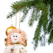 Christmas decoration - the angel on the Christmas tree — Stock Photo