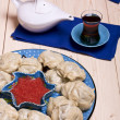 Kazakh or Uzbek dish - manti — Stock Photo