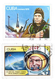 A set of postage stamp printed in Cuba shows the world's first — Stock Photo